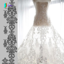 Upscale Off White Fashion Garment Cloth,Court Embroidered Handmade Sewing Accessory Wedding Dress DIY Fabric S0147L(China)