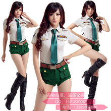 Special Army Green Policewoman Spy Airline Stewardess Cosplay Party Uniform Temptation Nightclub DS Show Stage Work Clothes