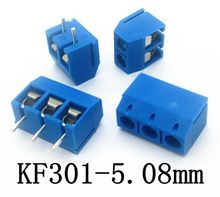 10PCS KF301-2P/3P Green Blue Pin Screw Terminal Block Connector 5mm Pitch KF301-5.0-2P/3P 5.08mm Free shipping