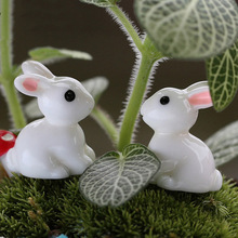 New 2 pcs Miniature Decorations Rabbit Animal Resin Crafts Decor DIY Llittle Fairy Garden Decor NB0207(China)
