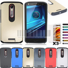 Ship From US/CN Warehouse Slim Hybrid Armor Hard Case For Motorola Moto X force/Droid Turbo 2 Protective Cover With Films+Stylus(China)