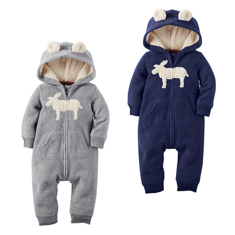 Baby Rompers Winter Thick Clothes Newborn Boys Girls Warm Romper Christmas Deer Hooded Outwear<br><br>Aliexpress