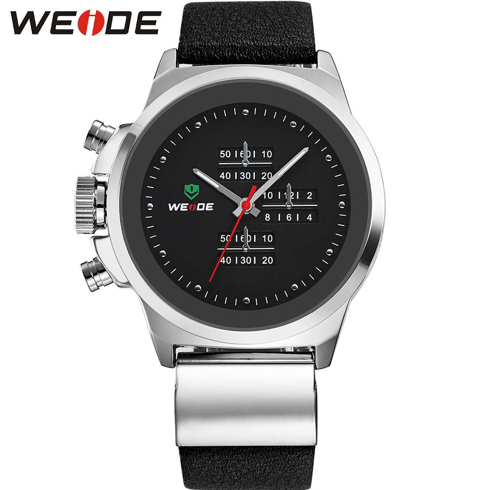 WEIDE Brand Men Genuine Leather Strap Casual Quartz Watch 30 Meters Water Resistant Black Dial Military Mens Sports Watches<br>