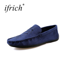 Ifrich Hot Sell Comfortable Leather Casual Shoes Men Blue Black Casual Sneakers Summer Autumn Footwear for Mens Loafers Cheap(China)