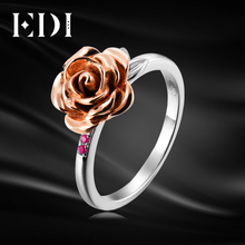EDI Rose Flower Natural Ruby Female Ring 925 Sterling Silver Leaf Fine Jewelry For Women Rings(China)