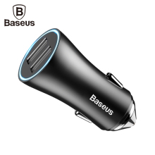 Baseus Dual Port USB Car Charger For iPhone Xiaomi Samsung 2.4A Fast Charge Adapter Metal Mini USB Car-Charger For Mobile Phone