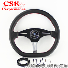"Perf Leather Steering Wheel 14"" w/Horn+Hub Adapter For Nar di / Sparco /Momo /OMP"