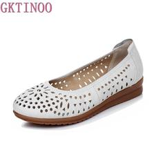 2017 Women Loafers Lady Flat Shoes Woman Summer Flats Hollow Out Comfortable Soft Outsole Genuine Leather Moccasins(China)