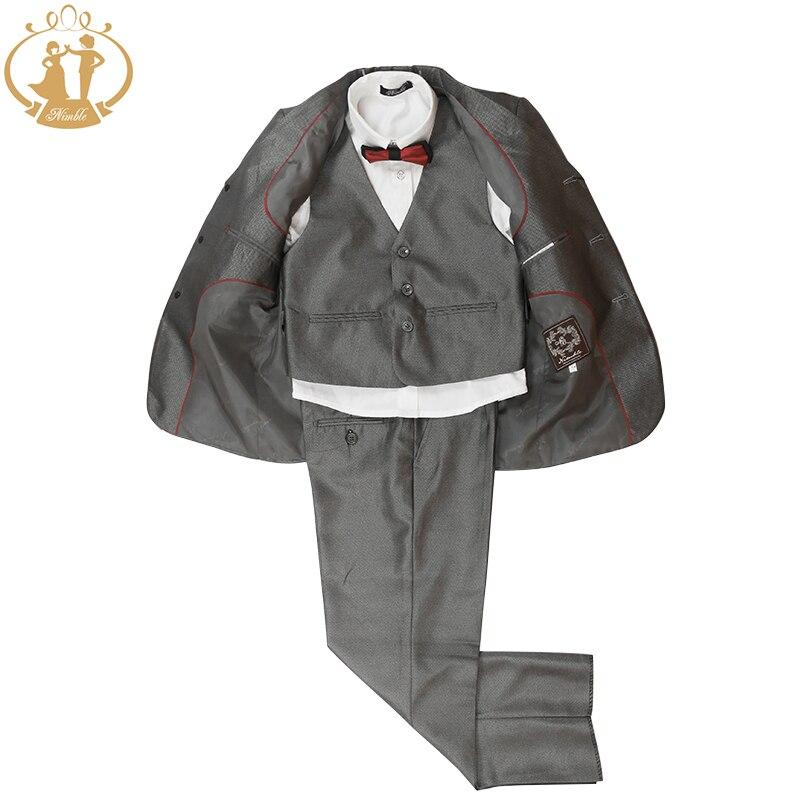 Nimble Boys Formal Suit 100% Polyester Gray Casual Kids Blazer Fashion Three Pieces Suit Coat Vest Pants<br><br>Aliexpress
