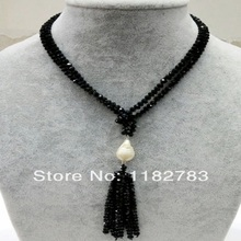 FREE SHIPPING  75cm Trendy necklace black crystal with a tear drop white baroque freshwater pearl pendant tassols chian necklace