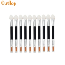 OutTop make up brushes 10Pcs Makeup Double-end Eye Shadow Eyeliner Brush Sponge Applicator Tool Professional Beauty Salon je17
