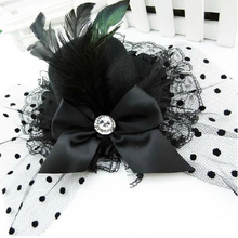 Black Mini Hat Feather Hair Clip with Bow