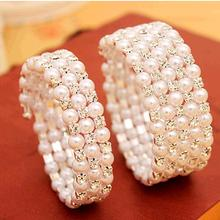 Crystal & Small Simulated Pearls Luxury 3 Layers 5 Layers for Selecting Adjustable Bracelets & Bangles for Women Fashion Jewelry