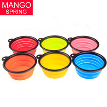 Pet dog bowl Dog Cat Pet Travel Bowl Silicone Collapsible Feeding Water Dish Feeder portable water bowl pet(China)