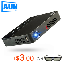 AUN 10,000 mAh Battery AUN Projector DLP Projector 1280*800p WIFI Bluetooth Android FULL HD Home Theater TV Cinema Active 3D Y6