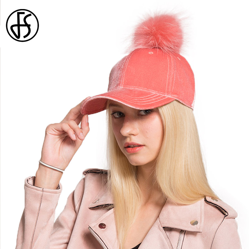 FS Autumn Winter Fashion Polyester Fur Pom Pom Hats Hip Hop Felt Baseball Cap Women Thick Warm Bone Snapback Hat Female<br>