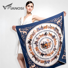 [VIANOSI] Newest Bandana 100*100 Silk Scarf Women High Quality Horse Print Soft shawls and scarves Brand Package VA035(China)