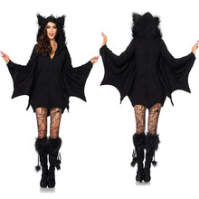 Halloween Women Cosplay Vampire Bat Costumes Party Cosplay Batman Jumpsuit Outfit Hoodies Adult Kid