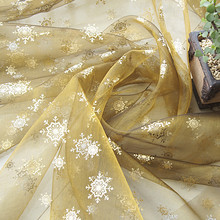 140x280cm Coffee gold curtain fabric holiday decoration festival snowflake print organza DIY cloth table cloth