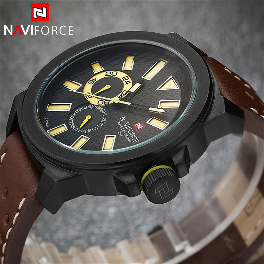 2016 Top NAVIFORCE Brand Mens Sports Watches Luxury Casual Leather Quartz Stop Watch Analog Waterproof relogio masculino Clock<br><br>Aliexpress