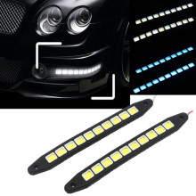 POSSBAY -95% OFF 1Pair Car COB DRL Driving Fog Lights 10 LED Flexible Daytime Running Lights White Blue LED Strip For Cars(China)