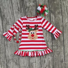 Christmas fall/winter baby girls cotton outfits red striped ruffle dress reindeer children clothes boutique match accessories(China)