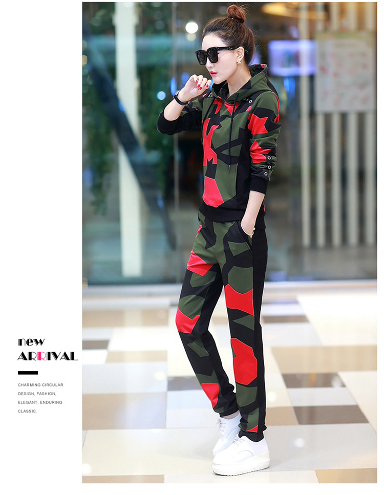 17 Women 2 Two Piece Set Camouflage Sporting Suit Femme Hoodies Sweatshirt Top And Pants Sweatsuit Set Casual Runway Tracksuit 8