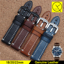 Calf Genuine Leather Bracelet Sewing for 18mm 20mm 22mm Watchband for IWC Hamilton Breitling Watch Strap Man Accessories+Tools(China)