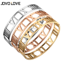 JOVO New Fashion Hollow Out Gold Bracelets for Women Roman Number Design Wide Cuff Bracelets & Bangle Female Wedding Gift