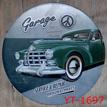 CAR REPAIR&SERVICE 1962 Shape signs IRON Wall Sticker Metal Tin Sign Coffee Shop Wall Decor Pub Round Plaque decor(China)