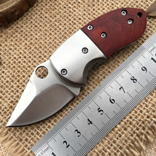 Sharp Pocket Knives Key Small Folding Knife Mini Hunting Tool Redwood Handle Stainless Steel Blade Outdoor Survival Portable EDC