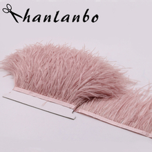 2meter Height 10-15CM Ostrich Feather Trimming tirms Soft and Fluffy For Dress clothing Accessories Making(China)