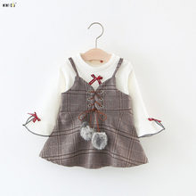 Baby Girls Clothing 2018 Spring Plaid Princess Dress Long Sleeve Sweet Elegant Baby Dresses Cotton Infant Clothes 1-3 Years(China)