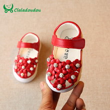 Claladoudou 0-3Y White Baby Girl Sandals For Kids Girls Red Flower Summer Infant Shoes Stone Pink Princess Children's Sandals