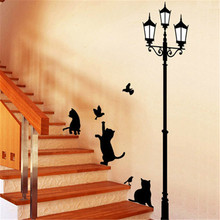 Large size Lamp Cats Kitty Kitten Fashion Vinyl Mural Decal Wall Sticker poster for kids rooms Glass Window Living Room Home(China)