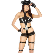 2017 Women Erotic Lingerie New Design Hollow Out Black Wet Look Leather Teddies Halter Underwear Vinyl Lady Sexy Bodysuit(China)