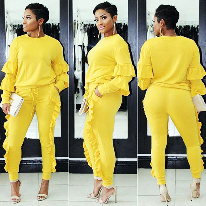 Women Plus Size 3XL Tracksuits Long Sleeve Casual Tops and Pants Suits Two Piece Pants Sets Outfit 8 Colors Ruffled Pant Sets