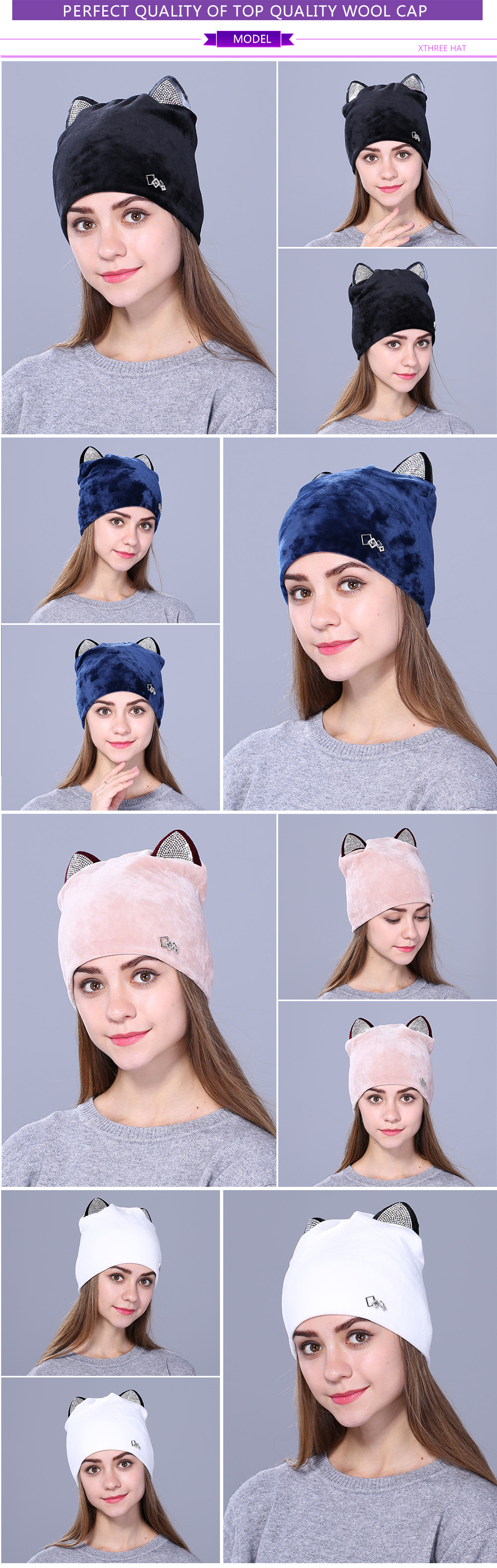Xthree Flannelette women autumn winter hat cute kitty children beanies hat for girls Skullies gorras 12