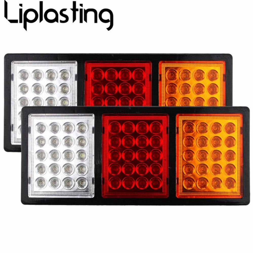 New 1 Pair Car Rear Brake Light 60 LEDs Taillight Plastic Parking Stopping Lights Lamp for Boat Truck Trailer Caravan<br>