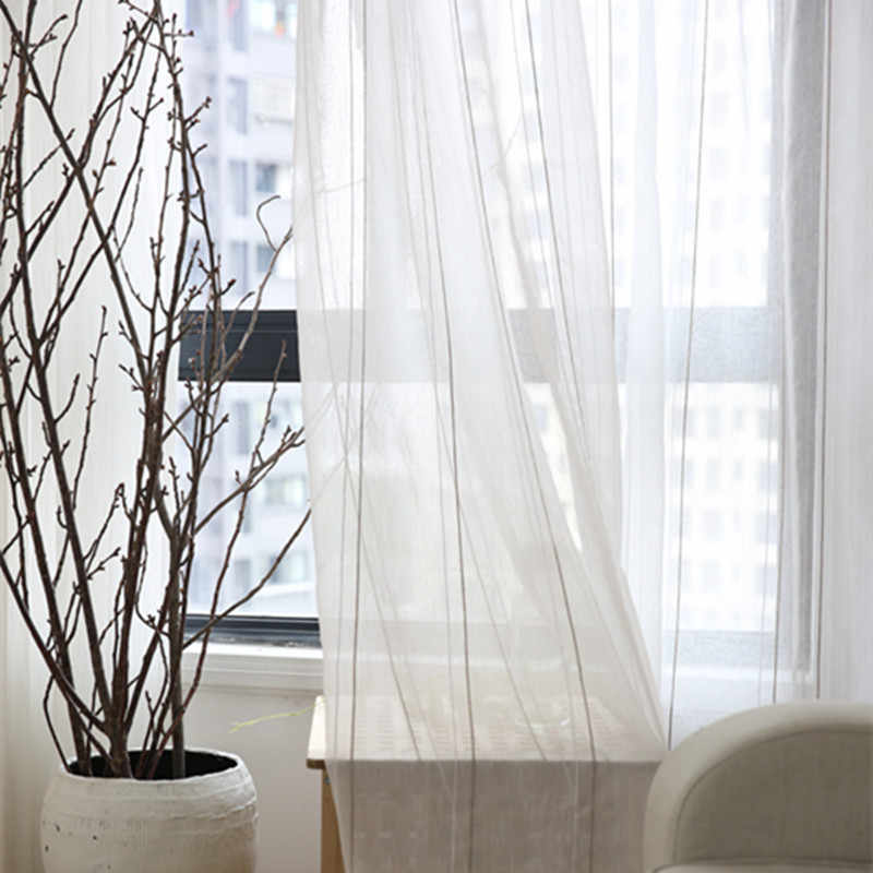 Classical Vertical Stripes Curtain Sheer Tulle White Linen Curtains For white curtains for living room WP209&3