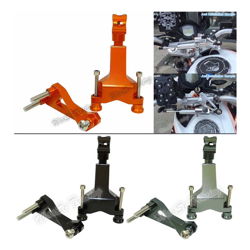 Motorcycle CNC Aluminium Steering Stabilizer Damper Mounting Bracket For 2013 2014 2015 2016 KTM DUKE 125 200 390<br>