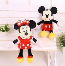 1Pcs 40cm Hot Sale Lovely Mickey Mouse And Minnie Mouse Stuffed Soft Plush Toys High Quality Gifts for children(China)