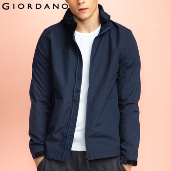 Giordano homens jaqueta corta-vento à prova de vento de manga longa casuais masculinos outerwear jaqueta com capuz para homens jaqueta masculina