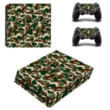 3 Style Camouflage Custom Sticker Vinly Skin Cover For Playstaion 4 Pro Console Skin and For Ps4 Pro 2 Controller Skin