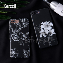 Kerzzil Simple Black White Retro Sketch Flowers Silicone Soft Cell Phone Case For iPhone 7 6 6S Plus Cover HD Protective Back