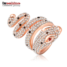 LZESHINE Super Deals Rose Gold Color and Pave Austrian Crystal 3D Cobra Snake Engagement Rings Fashion Jewelry Ri-HQ0112