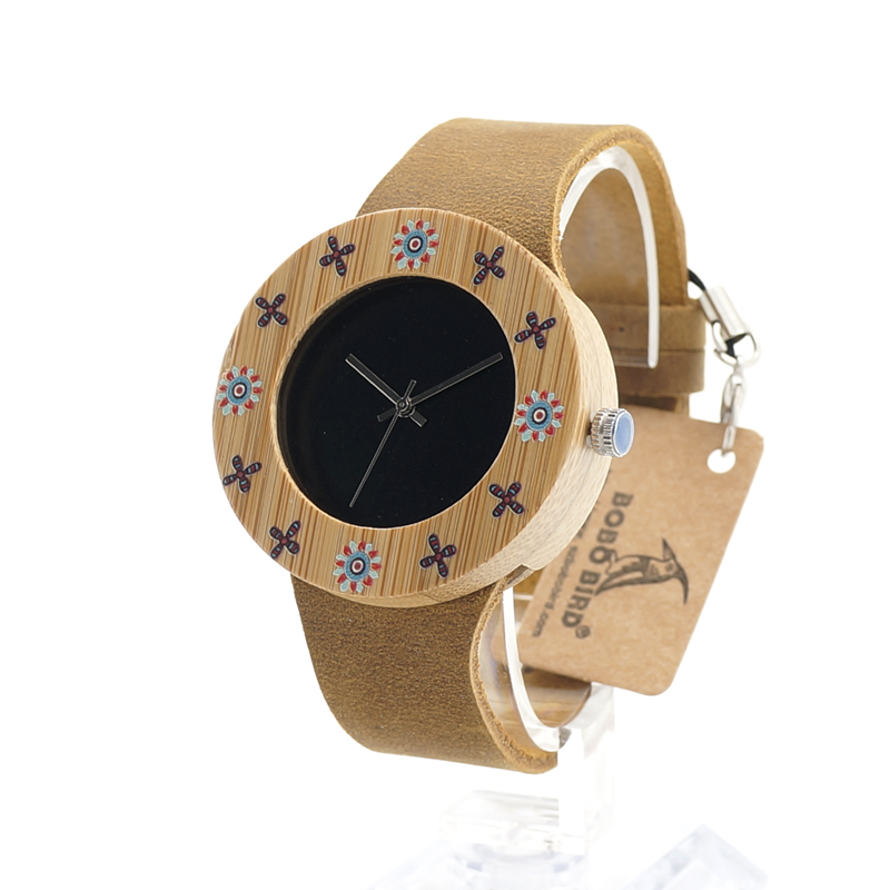 BOBO BIRD I16 ladies Bamboo Wooden Wristwatch Classic Black Dial UV Flower Print Women Quartz Watch orologio donna<br><br>Aliexpress