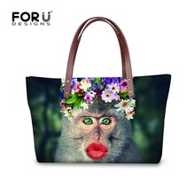 Fashion Women Causal Bags Animal Zoo Monkey Printing Women Handbag Large Brand Shoulder Bags Elegant Ladies Tote Sacthel Bolsa