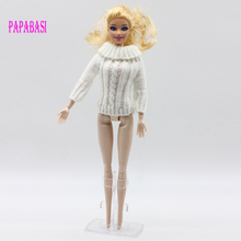 1pc hot sale handmade knitted wools top coat for Barbie girl dolls, 3 colors assorted, white, yellow, purple,