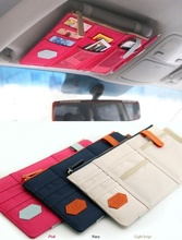 Fashion Car Sun Visor Point Pocket Documents Organizer Pouch Hanging Bag CD Card Holder